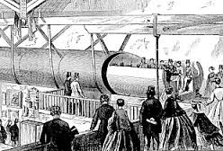 A much earlier version of pneumatic transport, circa 1870.